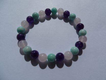 Bracelet améthyste, amazonite et quartz rose